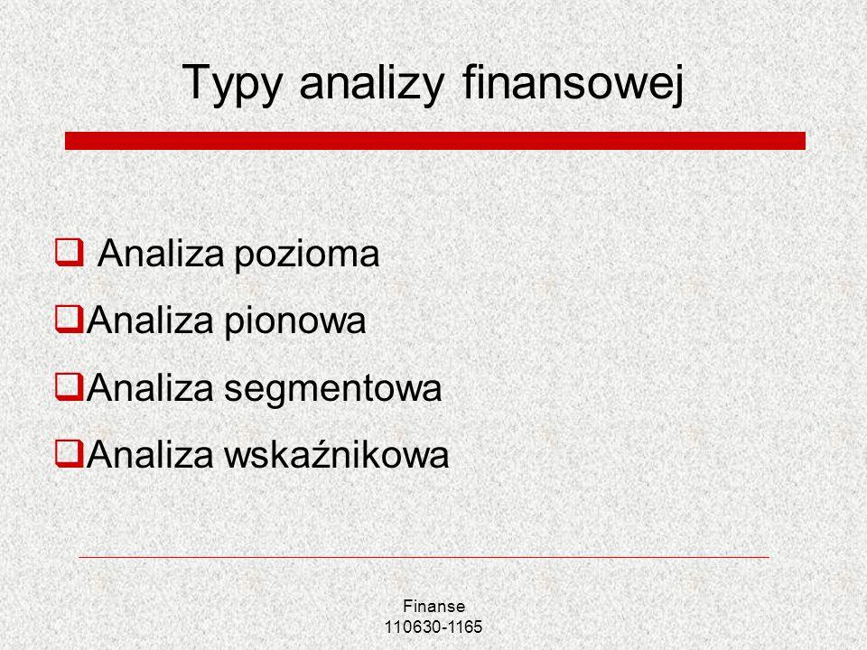 Typy analizy finansowej Analiza pozioma Analiza pionowa Analiza segmentowa Analiza wskaźnikowa Finanse 110630-1165