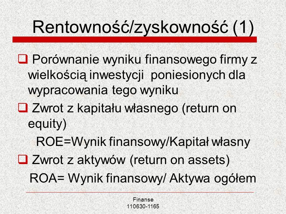 Rentowność/zyskowność (1) Porównanie wyniku finansowego firmy z wielkością inwestycji poniesionych dla wypracowania tego wyniku Zwrot z kapitału własn