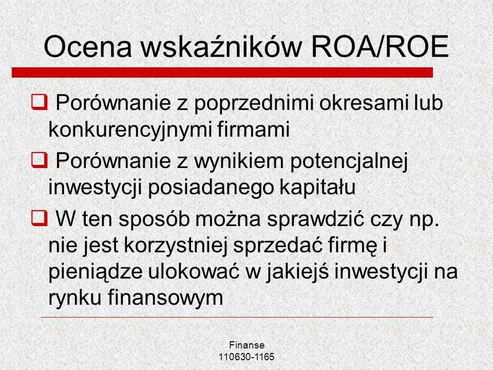 Ocena wskaźników ROA/ROE Porównanie z poprzednimi okresami lub konkurencyjnymi firmami Porównanie z wynikiem potencjalnej inwestycji posiadanego kapit