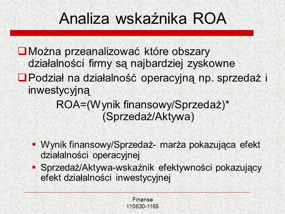 Analiza wskaźnika ROA Można przeanalizować które obszary działalności firmy są najbardziej zyskowne Podział na działalność operacyjną np. sprzedaż i i