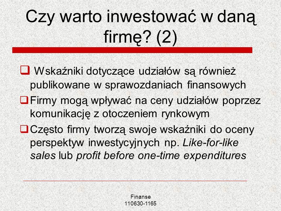Czy warto inwestować w daną firmę? (2) Wskaźniki dotyczące udziałów są również publikowane w sprawozdaniach finansowych Firmy mogą wpływać na ceny udz