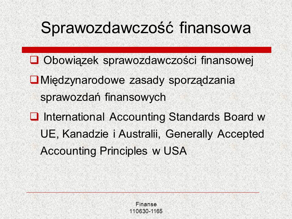 Sprawozdawczość finansowa Obowiązek sprawozdawczości finansowej Międzynarodowe zasady sporządzania sprawozdań finansowych International Accounting Sta