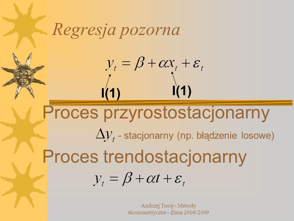 Współczynniki beta (2) 14 WNIOSEK: równoważną metodą jest skorygowanie współczynników zwykłej regresji o iloraz odchyleń standardowych zmiennej objaśnianej i objaśniających Andrzej Torój - Metody ekonometryczne - Zima 2008/2009