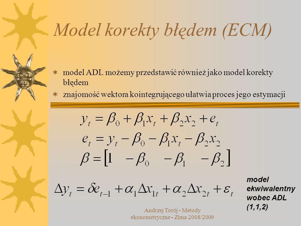 Model korekty błędem (ECM) model ADL możemy przedstawić również jako model korekty błędem znajomość wektora kointegrującego ułatwia proces jego estyma