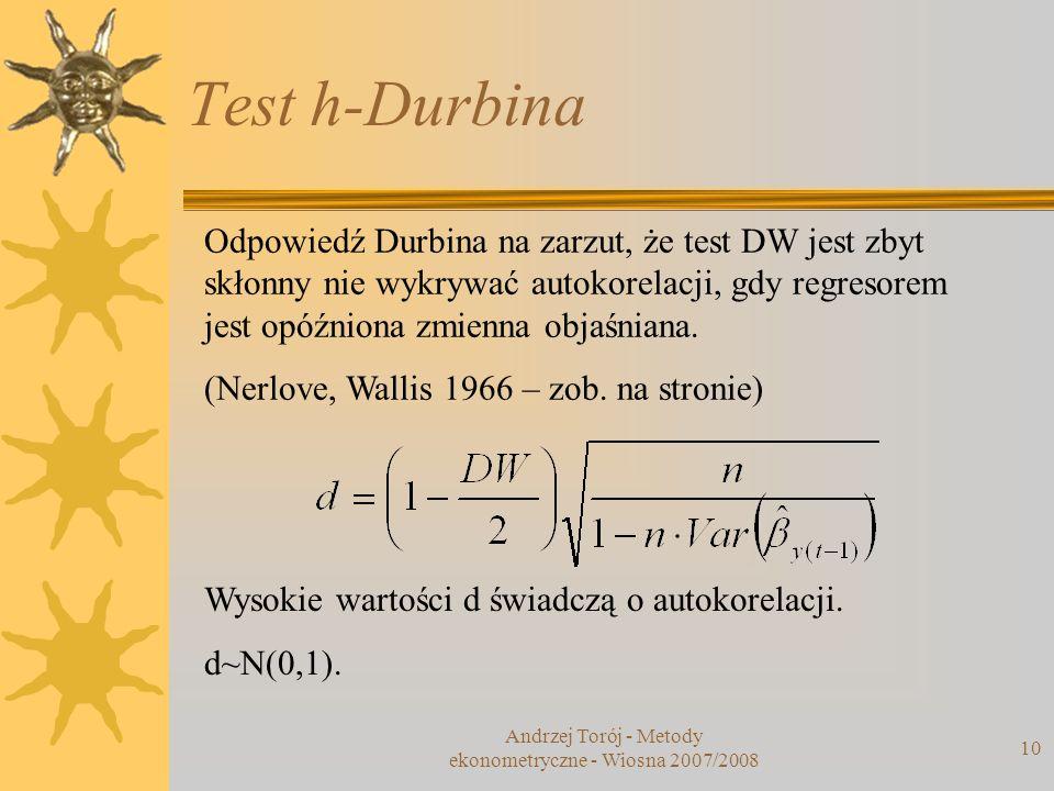 Test h-Durbina Andrzej Torój - Metody ekonometryczne - Wiosna 2007/2008 10 Odpowiedź Durbina na zarzut, że test DW jest zbyt skłonny nie wykrywać auto