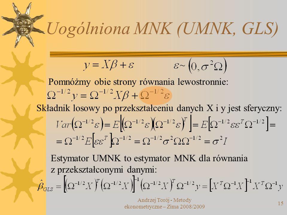 Uogólniona MNK (UMNK, GLS) Andrzej Torój - Metody ekonometryczne – Zima 2008/2009 15 ~ Pomnóżmy obie strony równania lewostronnie: Składnik losowy po