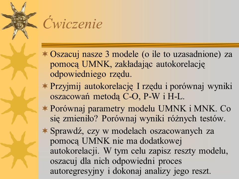 Ćwiczenie Oszacuj nasze 3 modele (o ile to uzasadnione) za pomocą UMNK, zakładając autokorelację odpowiedniego rzędu. Przyjmij autokorelację I rzędu i