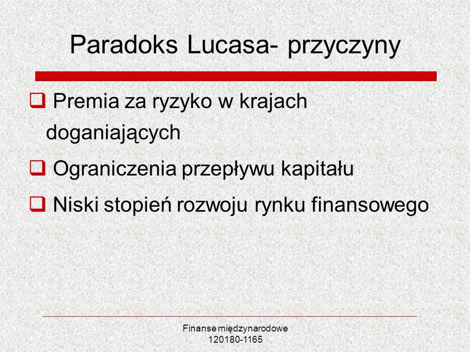 Finanse międzynarodowe 120180-1165 Paradoks Lucasa- przyczyny Premia za ryzyko w krajach doganiających Ograniczenia przepływu kapitału Niski stopień r