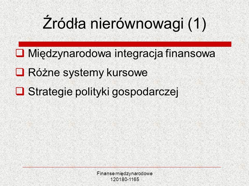 Finanse międzynarodowe 120180-1165 Źródła nierównowagi (1) Międzynarodowa integracja finansowa Różne systemy kursowe Strategie polityki gospodarczej