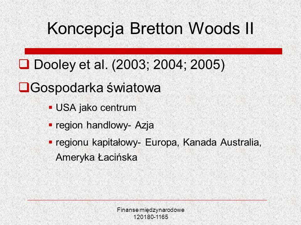 Finanse międzynarodowe 120180-1165 Koncepcja Bretton Woods II Dooley et al. (2003; 2004; 2005) Gospodarka światowa USA jako centrum region handlowy- A