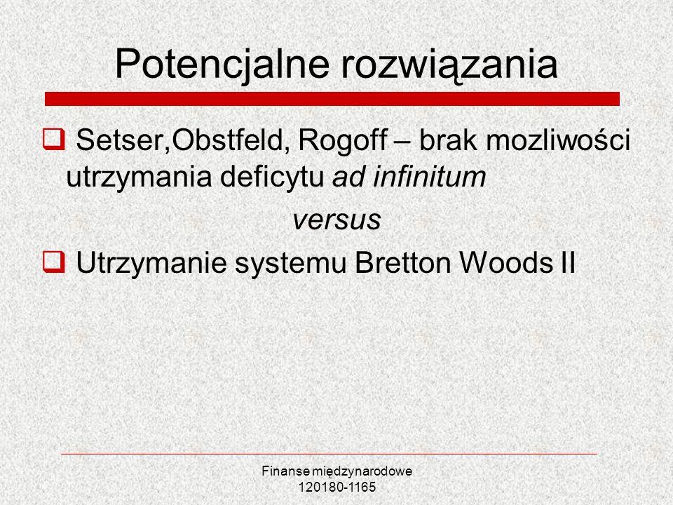 Finanse międzynarodowe 120180-1165 Potencjalne rozwiązania Setser,Obstfeld, Rogoff – brak mozliwości utrzymania deficytu ad infinitum versus Utrzymani