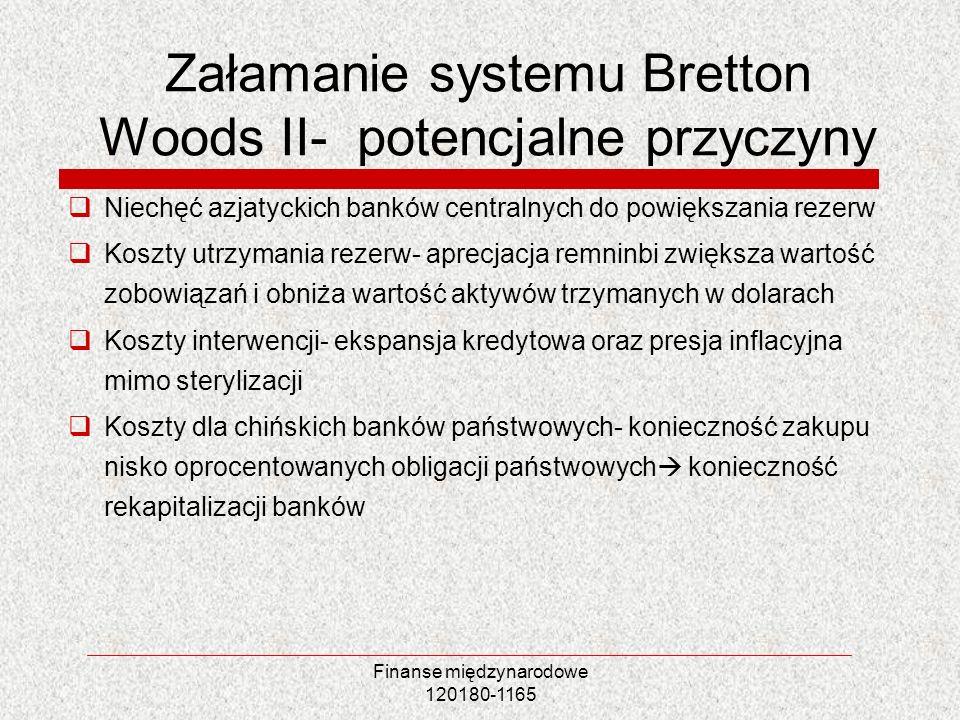 Finanse międzynarodowe 120180-1165 Załamanie systemu Bretton Woods II- potencjalne przyczyny Niechęć azjatyckich banków centralnych do powiększania re