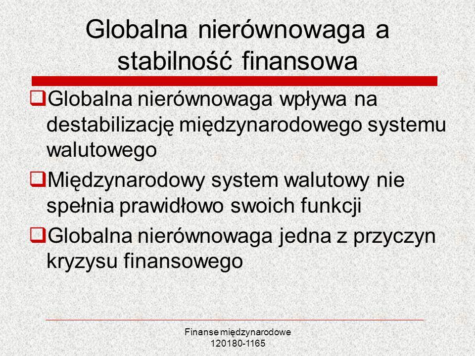 Finanse międzynarodowe 120180-1165 Globalna nierównowaga a stabilność finansowa Globalna nierównowaga wpływa na destabilizację międzynarodowego system