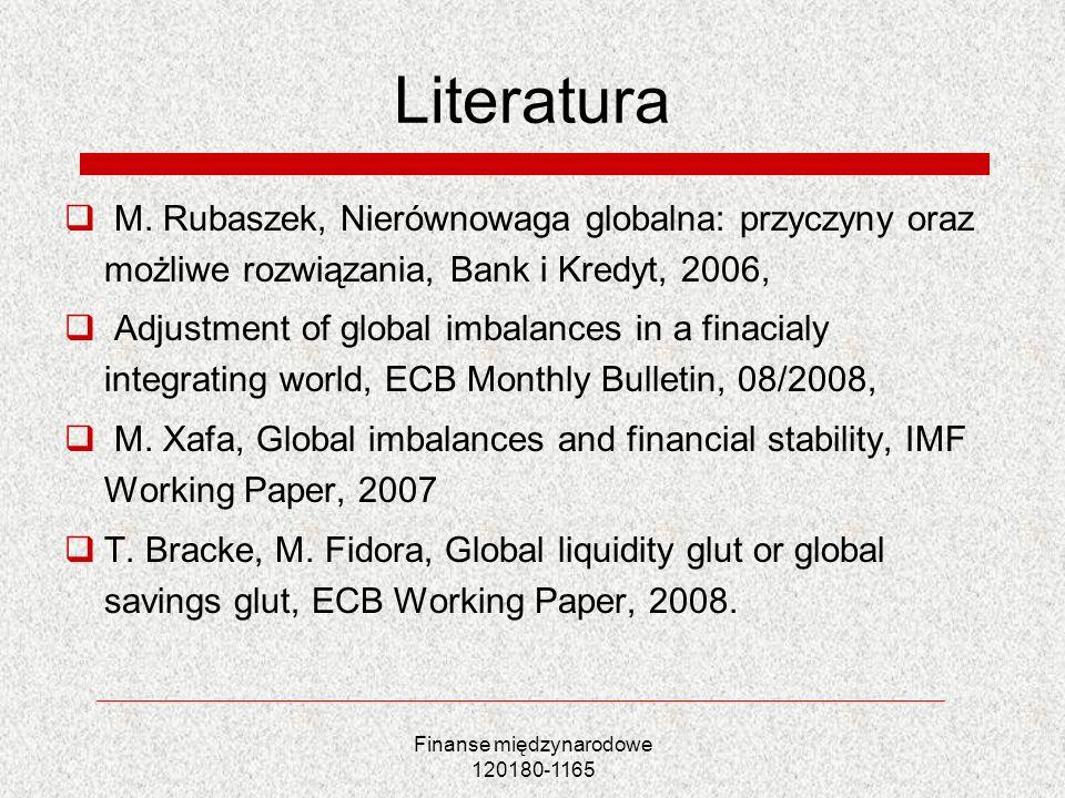 Finanse międzynarodowe 120180-1165 Literatura M. Rubaszek, Nierównowaga globalna: przyczyny oraz możliwe rozwiązania, Bank i Kredyt, 2006, Adjustment