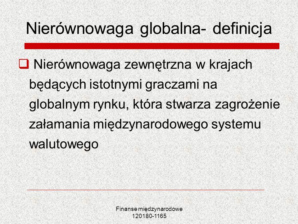 Finanse międzynarodowe 120180-1165 Nierównowaga globalna- definicja Nierównowaga zewnętrzna w krajach będących istotnymi graczami na globalnym rynku,