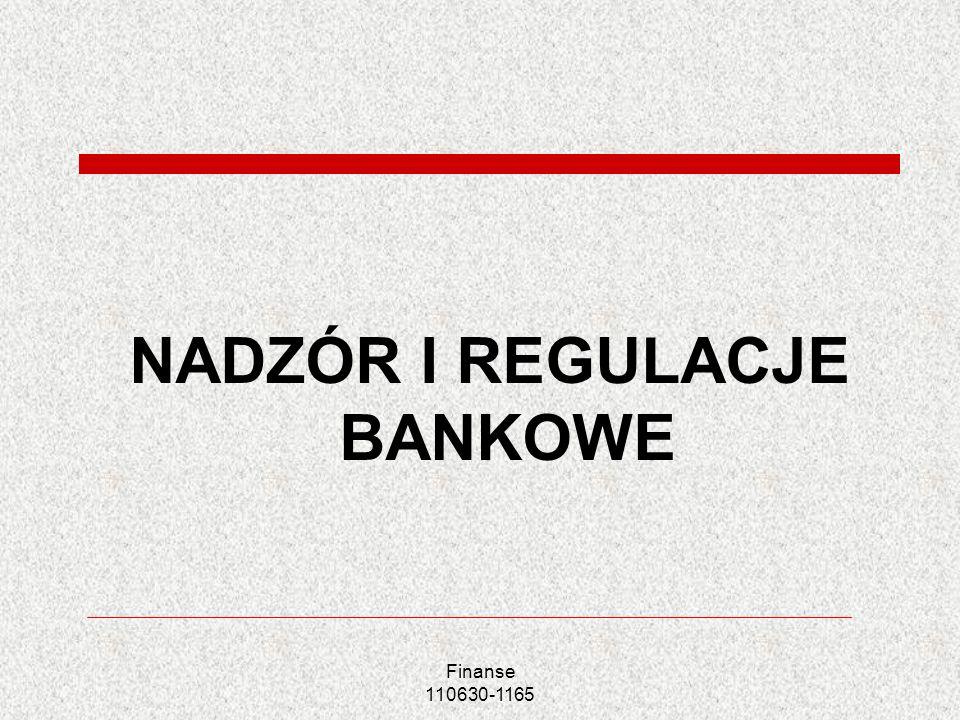 Finanse 110630-1165 NADZÓR I REGULACJE BANKOWE