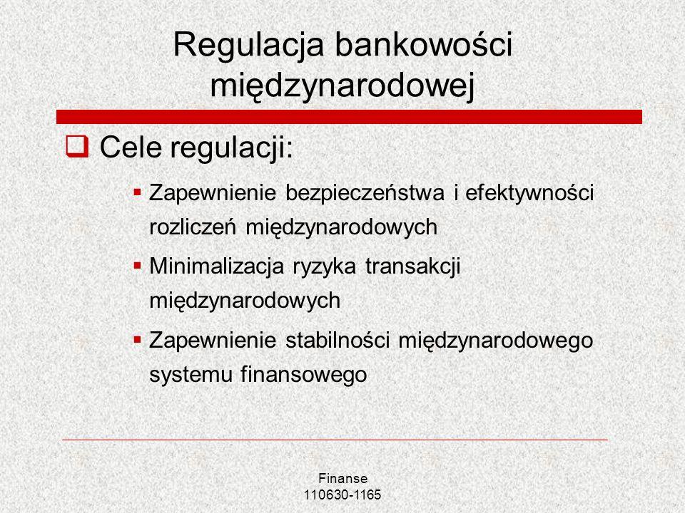 Finanse 110630-1165 Regulacja bankowości międzynarodowej Cele regulacji: Zapewnienie bezpieczeństwa i efektywności rozliczeń międzynarodowych Minimali