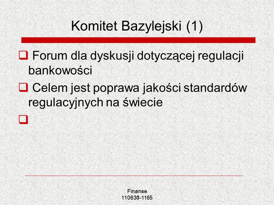 Finanse 110630-1165 Finance 110631-1165 Komitet Bazylejski (1) Forum dla dyskusji dotyczącej regulacji bankowości Celem jest poprawa jakości standardó