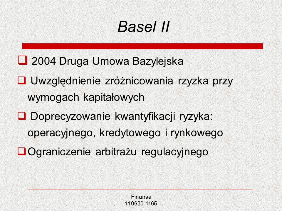 Finanse 110630-1165 Basel II 2004 Druga Umowa Bazylejska Uwzględnienie zróżnicowania rzyzka przy wymogach kapitałowych Doprecyzowanie kwantyfikacji ry