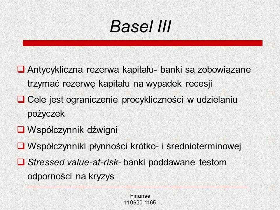 Finanse 110630-1165 Basel III Antycykliczna rezerwa kapitału- banki są zobowiązane trzymać rezerwę kapitału na wypadek recesji Cele jest ograniczenie