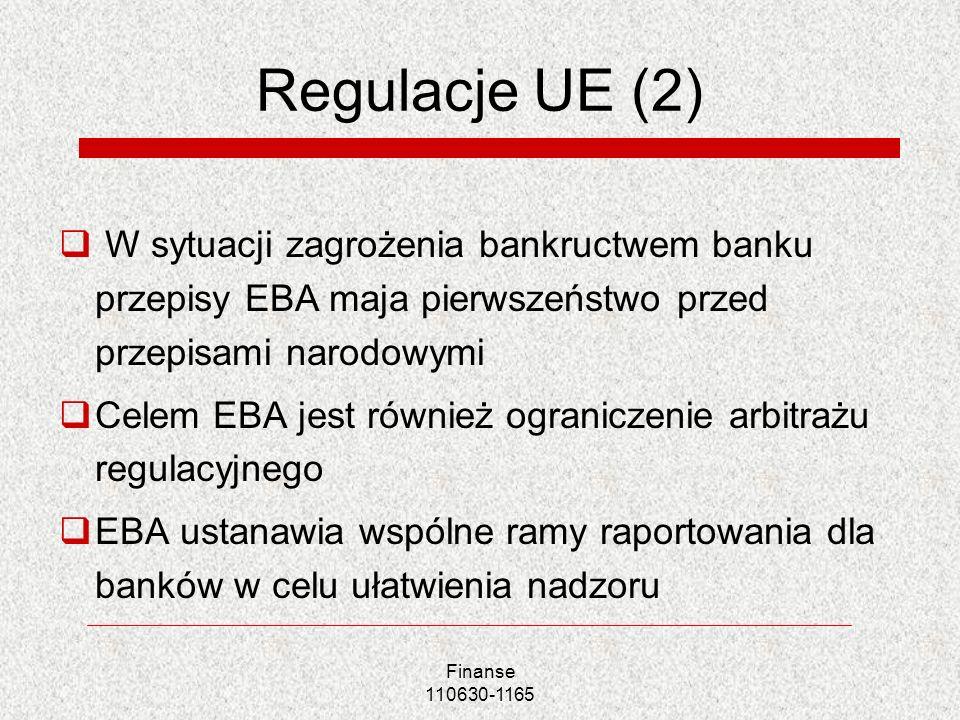 Finanse 110630-1165 Regulacje UE (2) W sytuacji zagrożenia bankructwem banku przepisy EBA maja pierwszeństwo przed przepisami narodowymi Celem EBA jes