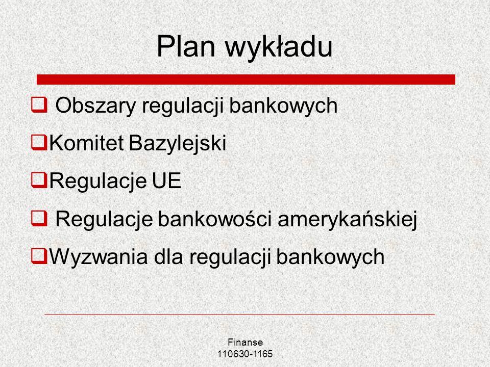 Finanse 110630-1165 Plan wykładu Obszary regulacji bankowych Komitet Bazylejski Regulacje UE Regulacje bankowości amerykańskiej Wyzwania dla regulacji