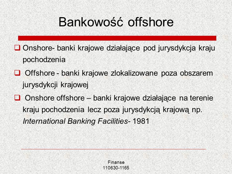 Finanse 110630-1165 Bankowość offshore Onshore- banki krajowe działające pod jurysdykcja kraju pochodzenia Offshore - banki krajowe zlokalizowane poza