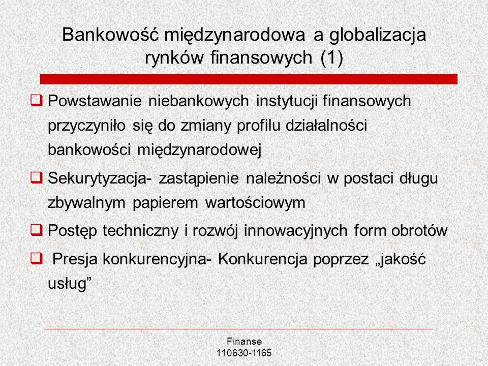 Finanse 110630-1165 Bankowość międzynarodowa a globalizacja rynków finansowych (1) Powstawanie niebankowych instytucji finansowych przyczyniło się do