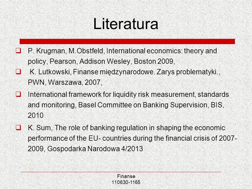Finanse 110630-1165 Literatura P. Krugman, M.Obstfeld, International economics: theory and policy, Pearson, Addison Wesley, Boston 2009, K. Lutkowski,