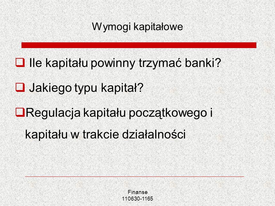 Finanse 110630-1165 Wymogi kapitałowe Ile kapitału powinny trzymać banki? Jakiego typu kapitał? Regulacja kapitału początkowego i kapitału w trakcie d