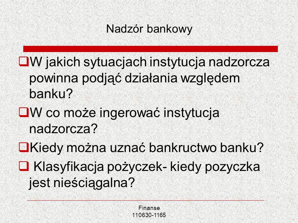 Finanse 110630-1165 Nadzór bankowy W jakich sytuacjach instytucja nadzorcza powinna podjąć działania względem banku? W co może ingerować instytucja na