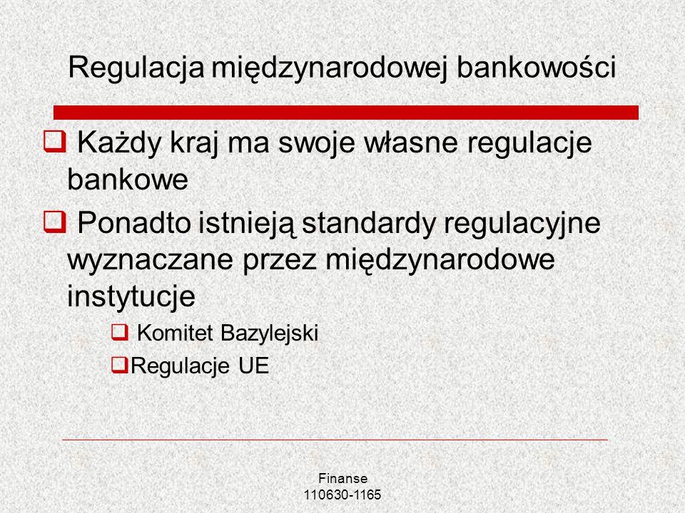 Finanse 110630-1165 Regulacja międzynarodowej bankowości Każdy kraj ma swoje własne regulacje bankowe Ponadto istnieją standardy regulacyjne wyznaczan