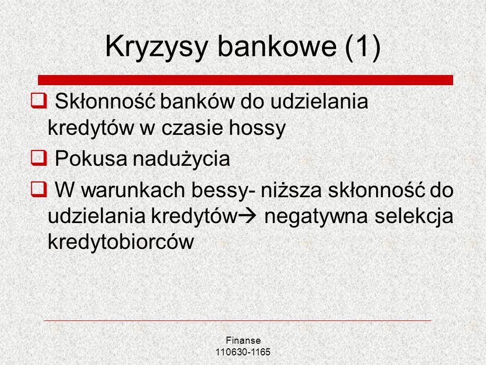 Finanse 110630-1165 Kryzysy bankowe (1) Skłonność banków do udzielania kredytów w czasie hossy Pokusa nadużycia W warunkach bessy- niższa skłonność do