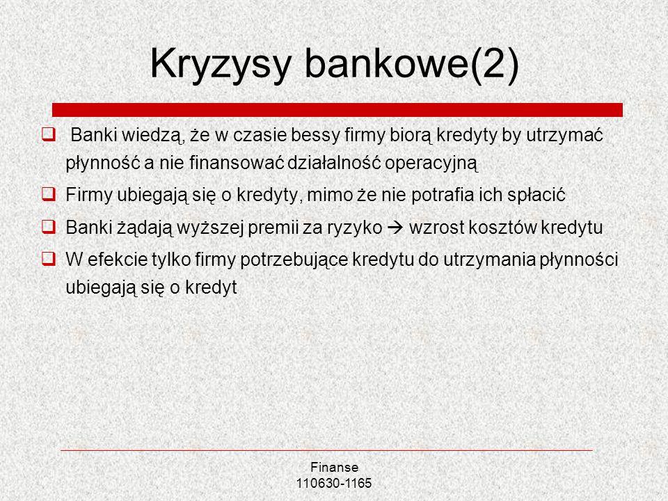 Finanse 110630-1165 Kryzysy bankowe(2) Banki wiedzą, że w czasie bessy firmy biorą kredyty by utrzymać płynność a nie finansować działalność operacyjn