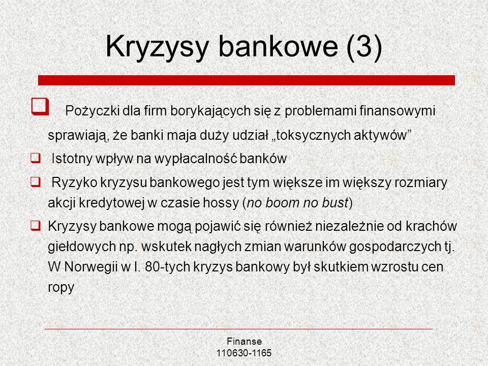 Finanse 110630-1165 Kryzysy bankowe (3) Pożyczki dla firm borykających się z problemami finansowymi sprawiają, że banki maja duży udział toksycznych a