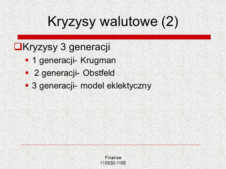Finanse 110630-1165 Kryzysy walutowe (2) Kryzysy 3 generacji 1 generacji- Krugman 2 generacji- Obstfeld 3 generacji- model eklektyczny