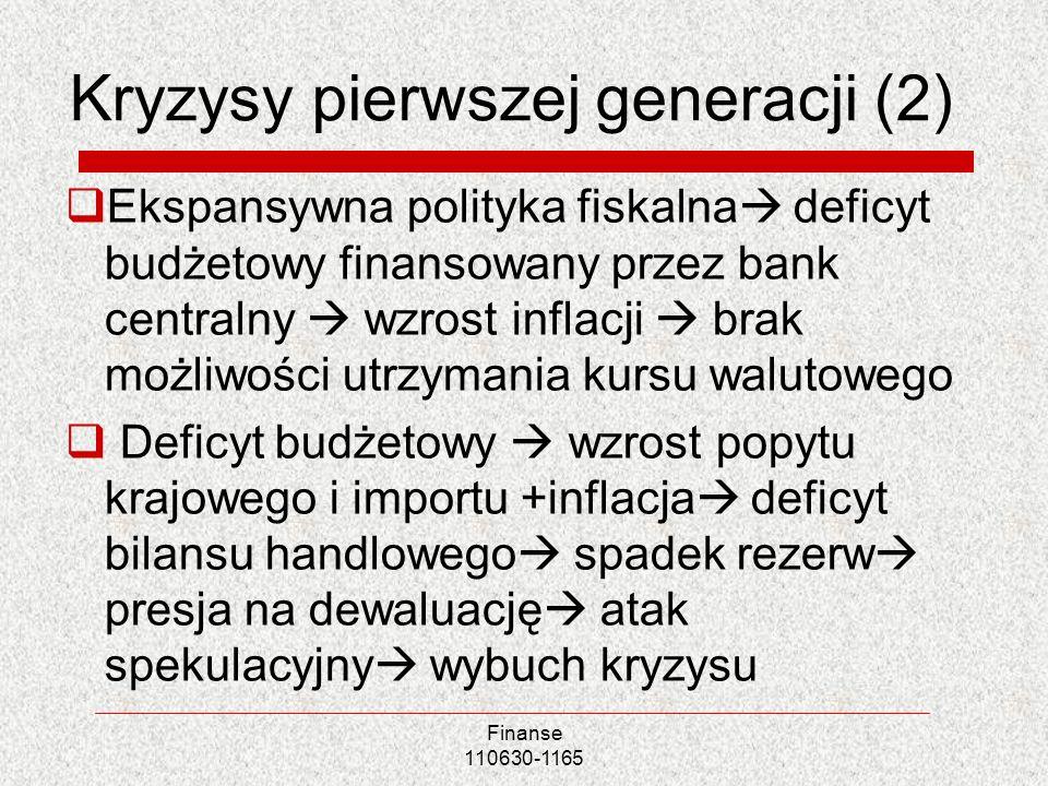 Finanse 110630-1165 Kryzysy pierwszej generacji (2) Ekspansywna polityka fiskalna deficyt budżetowy finansowany przez bank centralny wzrost inflacji b