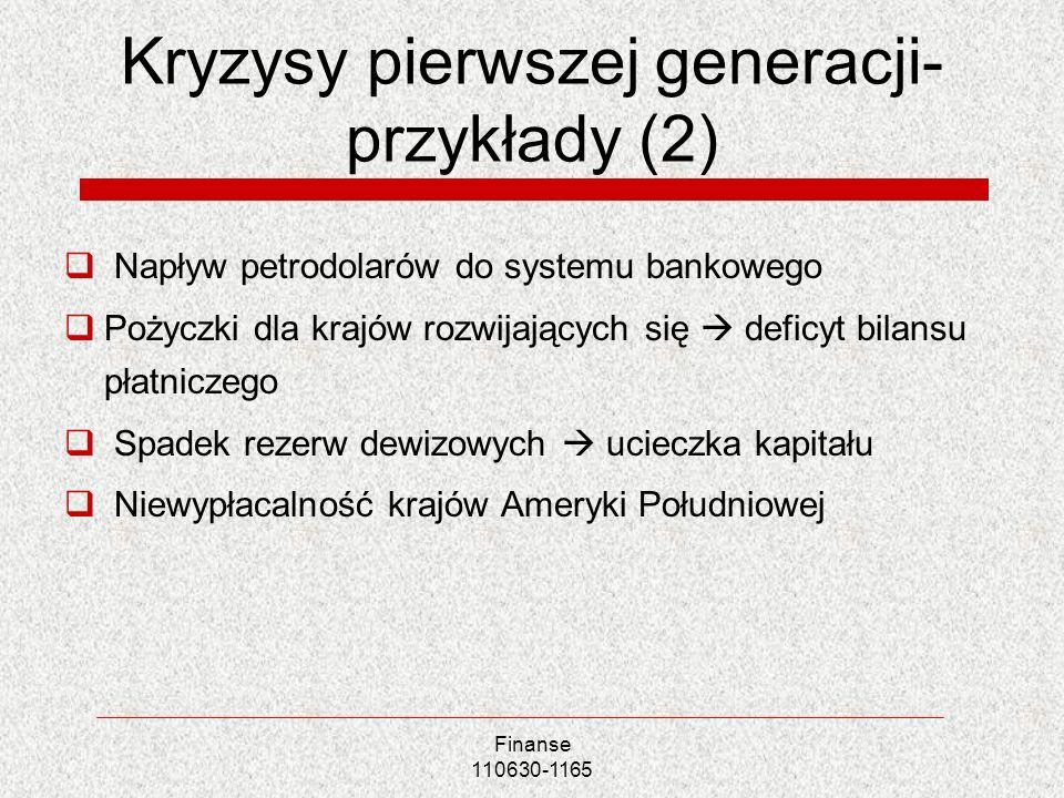 Finanse 110630-1165 Kryzysy pierwszej generacji- przykłady (2) Napływ petrodolarów do systemu bankowego Pożyczki dla krajów rozwijających się deficyt