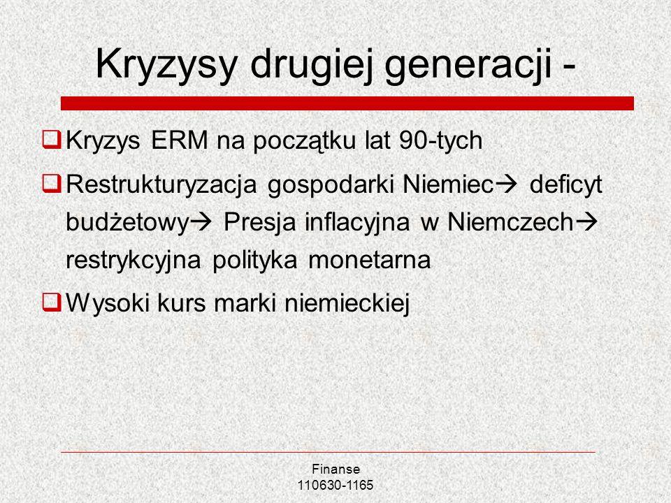 Finanse 110630-1165 Kryzysy drugiej generacji - Kryzys ERM na początku lat 90-tych Restrukturyzacja gospodarki Niemiec deficyt budżetowy Presja inflac