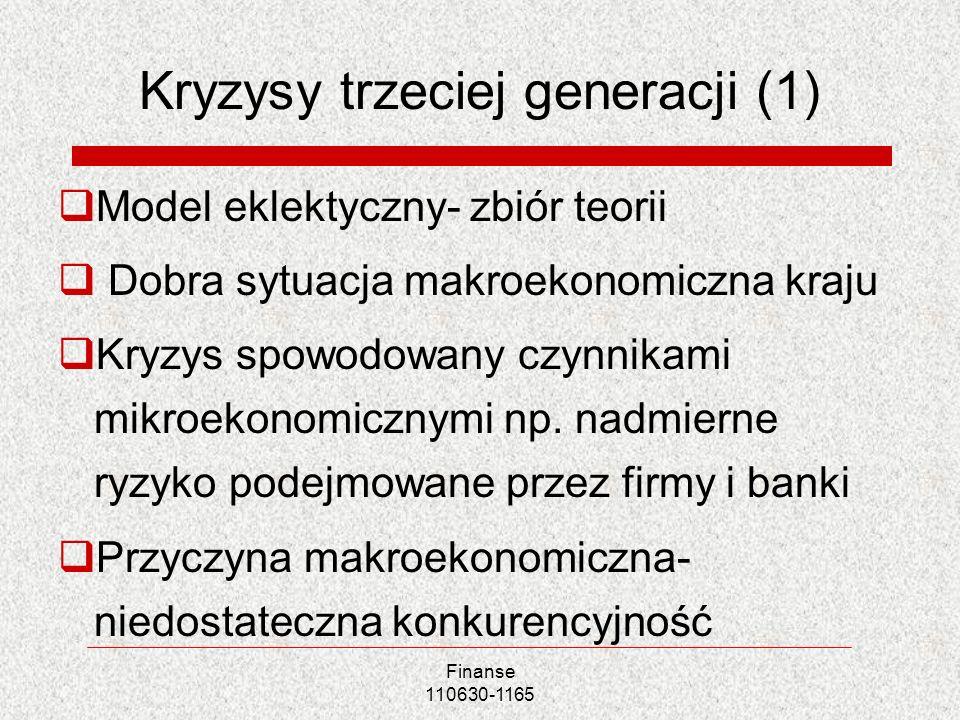 Finanse 110630-1165 Kryzysy trzeciej generacji (1) Model eklektyczny- zbiór teorii Dobra sytuacja makroekonomiczna kraju Kryzys spowodowany czynnikami
