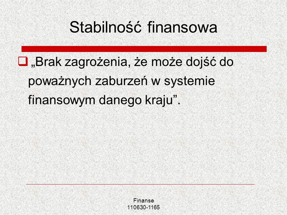 Finanse 110630-1165 Stabilność finansowa Brak zagrożenia, że może dojść do poważnych zaburzeń w systemie finansowym danego kraju.
