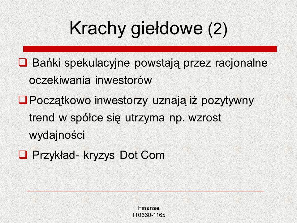 Finanse 110630-1165 Krachy giełdowe (2) Bańki spekulacyjne powstają przez racjonalne oczekiwania inwestorów Początkowo inwestorzy uznają iż pozytywny