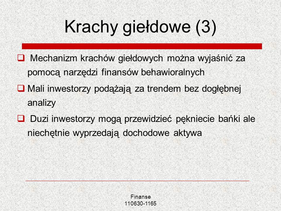 Finanse 110630-1165 Krachy giełdowe (3) Mechanizm krachów giełdowych można wyjaśnić za pomocą narzędzi finansów behawioralnych Mali inwestorzy podążaj