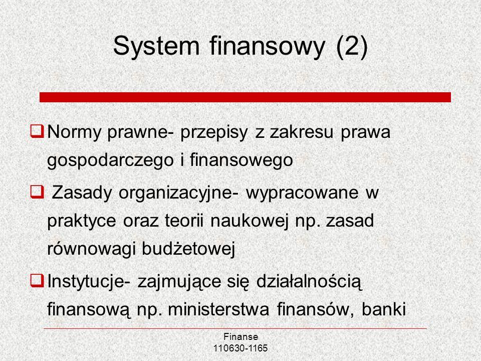 Finanse 110630-1165 System finansowy (2) Normy prawne- przepisy z zakresu prawa gospodarczego i finansowego Zasady organizacyjne- wypracowane w prakty