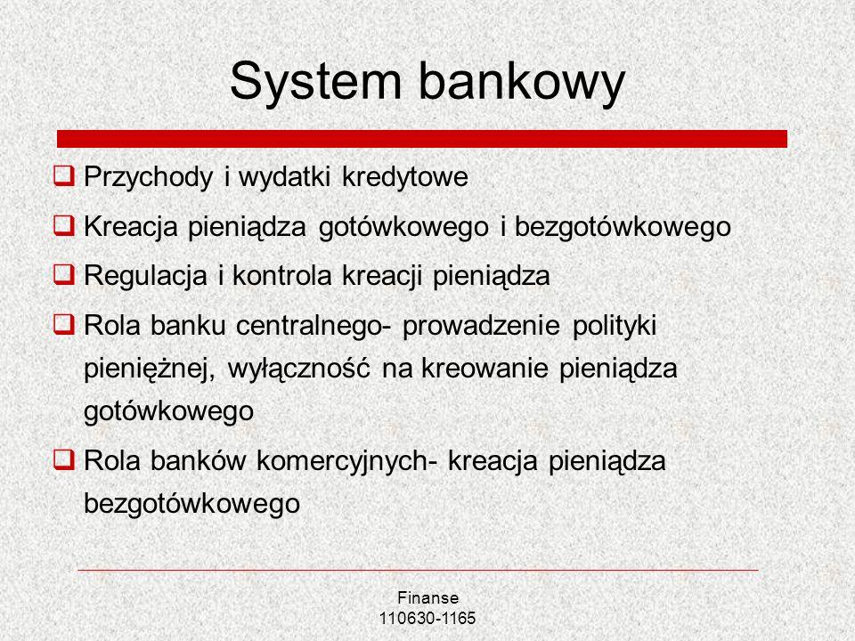 Finanse 110630-1165 System bankowy Przychody i wydatki kredytowe Kreacja pieniądza gotówkowego i bezgotówkowego Regulacja i kontrola kreacji pieniądza