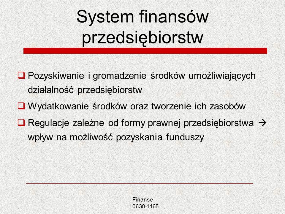 Finanse 110630-1165 System finansów przedsiębiorstw Pozyskiwanie i gromadzenie środków umożliwiających działalność przedsiębiorstw Wydatkowanie środkó