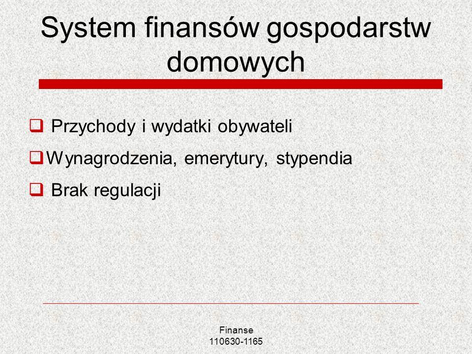 Finanse 110630-1165 System finansów gospodarstw domowych Przychody i wydatki obywateli Wynagrodzenia, emerytury, stypendia Brak regulacji
