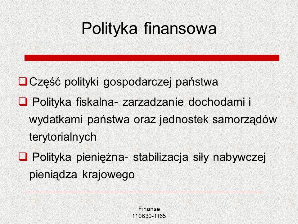 Finanse 110630-1165 Polityka finansowa Część polityki gospodarczej państwa Polityka fiskalna- zarzadzanie dochodami i wydatkami państwa oraz jednostek