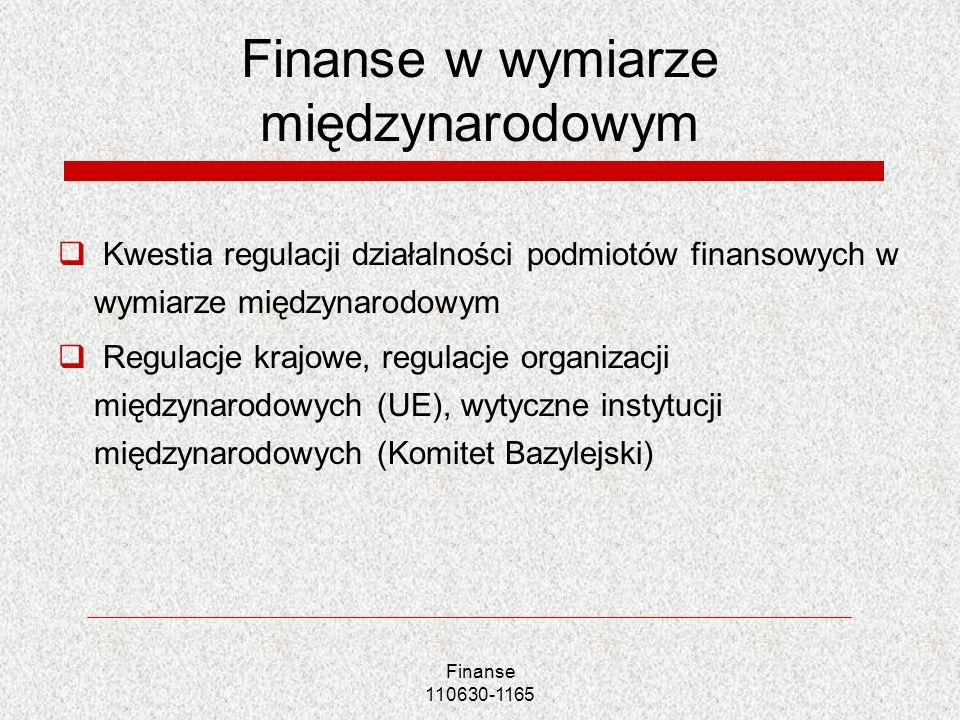 Finanse 110630-1165 Finanse w wymiarze międzynarodowym Kwestia regulacji działalności podmiotów finansowych w wymiarze międzynarodowym Regulacje krajo