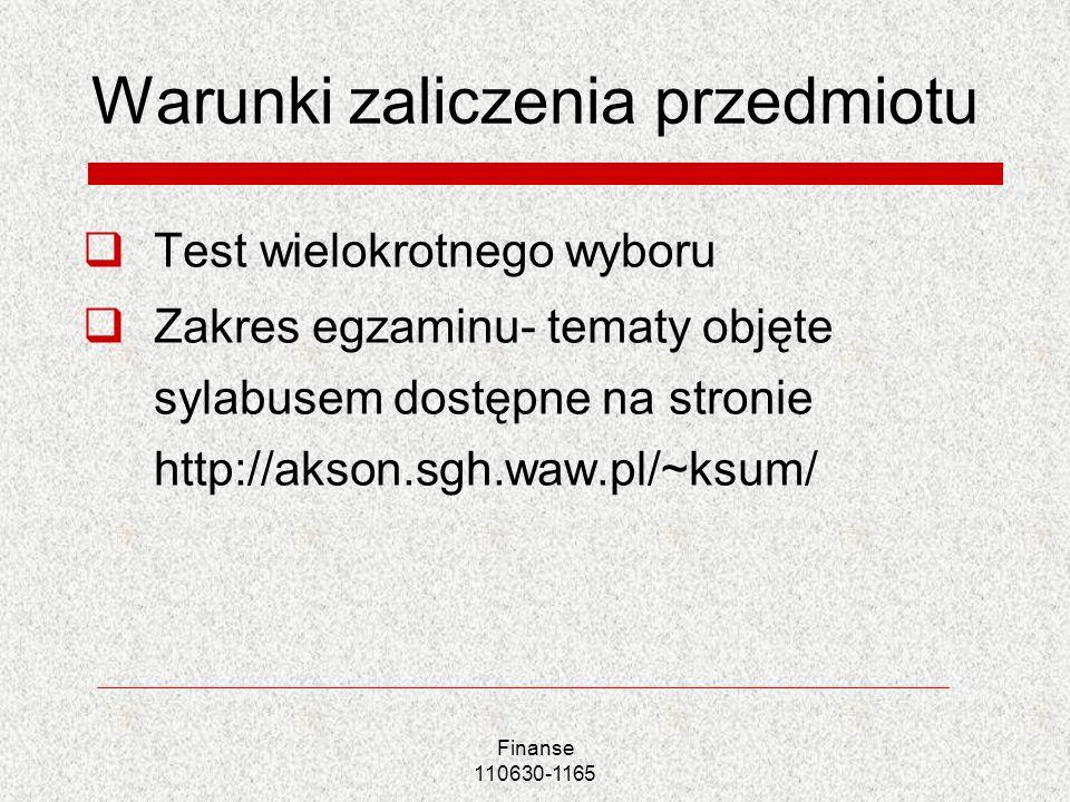 Finanse 110630-1165 Warunki zaliczenia przedmiotu Test wielokrotnego wyboru Zakres egzaminu- tematy objęte sylabusem dostępne na stronie http://akson.